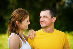 Mature father with adult daughter outdoors. Stock Photos