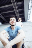 Mature father with his son under the bridge having fun together happy family, lifestyle people concept Stock Image