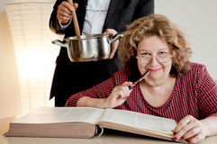 Mature female book Royalty Free Stock Photography