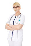 Mature female doctor or nurse Royalty Free Stock Photos