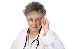 Mature Female Doctor Serious Stock Images