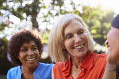 Mature Female Friends Socializing In Backyard Together Stock Photography