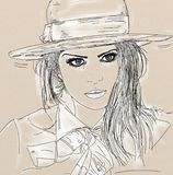 Hand-drawn sketch of woman's face on white background. royalty free illustration