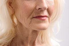 Mature Female Person With Wrinkles Stock Photography