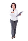 Mature female reporter with microphone and clipboard isolated on Stock Photography