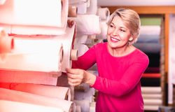 Mature female shopper searching for suitable fabric. Happy cheerful positive mature female shopper searching for suitable fabric in textile shop Stock Image