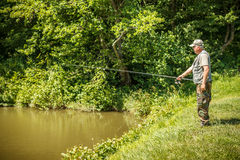 Mature fisherman Stock Images
