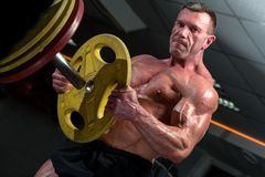 Strong mature man with relief body posing in gym stock photography