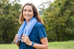 Mature fitness woman smiling royalty free stock image