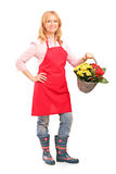 Mature florist holding a basket full of flowers Stock Image