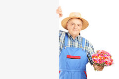 Mature florist holding a bunch of flowers and posing on a blank Stock Photo