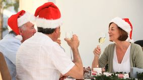 Mature friends celebrating Christmas Stock Photos