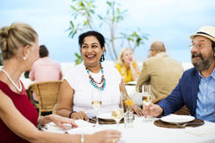 Mature Friends Fine Dining Outdoors Concept Stock Image