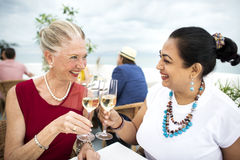 Mature Friends Fine Dining Outdoors Concept Royalty Free Stock Photography