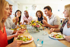 Mature Friends Sitting Around Table At Dinner Party royalty free stock photo
