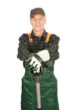 Mature gardener with a spade Royalty Free Stock Images