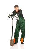 Mature gardener with a spade Stock Photos