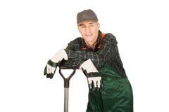 Mature gardener with a spade Stock Image
