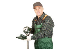 Mature gardener with a spade Royalty Free Stock Photography