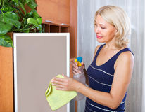 Mature girl cleaning glass door Stock Photos