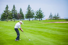 Mature Golfer on a Golf Course Stock Images