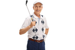 Mature golfer holding a golf club. Isolated on white background Stock Photo