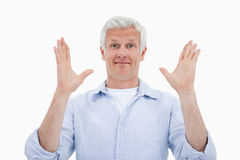 Mature with the hands up Stock Photography