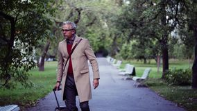 Mature businessman with suitcase walking in a park in a city, checking the time. Mature handsome businessman with suitcase walking in a park in a city, checking stock video footage