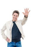 Mature handsome man saluting high five Royalty Free Stock Photo