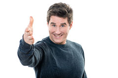 Mature handsome man welcoming portrait. One  man mature handsome portrait welcoming studio white background Royalty Free Stock Photography