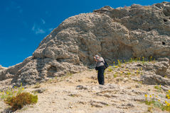 Mature hiker photograph nature on cape Kapchik in Novy Svet resort Stock Images