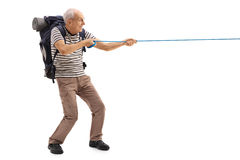 Mature hiker pulling a rope Stock Image