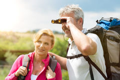 Mature Hikers With Binocular Royalty Free Stock Image