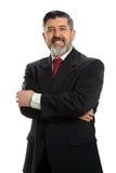 Mature Hispanic Businessman Smiling. Portrait of Hispanic businessman smiling isolated over white background Stock Photography