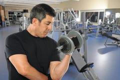 Mature Hispanic Man Exercising in Gym. Portrait of mature Hispanic man exercising with dumbbells inside gym stock photo