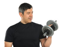 Mature Hispanic Man Lifting Dumbbells Royalty Free Stock Photos