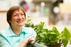 Mature housewife enjoying nice weather on terrace Stock Photos