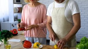 Mature husband and wife cooking vegetarian lunch in kitchen, family traditions royalty free stock photography