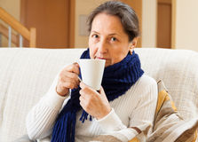 Mature illness woman Royalty Free Stock Photography