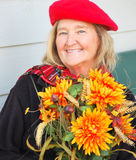Mature irish woman. Expressions of a mature irish woman outdoors Royalty Free Stock Photography