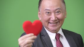 Mature Japanese businessman holding red heart ready for Valentine`s day. Studio shot of mature Japanese businessman against chroma key with green background stock footage