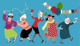 Senior ladies celebrate. Mature ladies celebrate birthday or other holiday together, EPS 8 vector illustration Royalty Free Stock Photos