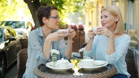 Mature ladies drinking coffee and talking in open air cafe on summer day. Mature ladies friends are drinking coffee and talking sitting in open air cafe on stock video footage