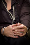 Mature lady. Senior women hands on knee stock images