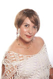 Mature lady bob hairstyle. Mature lady with bob hairstyle posing on a white background Stock Images