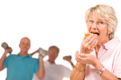 Mature lady cheating on diet Stock Image