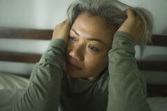 Free Mature Lady Crisis - Middle Aged Woman With Grey Hair Sad And Depressed In Bed Feeling Frustrated And Lonely Thinking About Aging Royalty Free Stock Image - 177935926