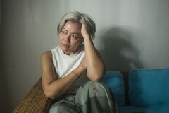 Free Mature Lady Crisis -  Middle Aged Woman With Grey Hair Sad And Depressed On Couch Feeling Frustrated And Lonely Thinking About Stock Image - 177938261