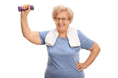 Mature lady exercising with a dumbbell Stock Photography