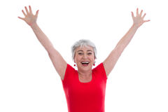 Mature lady happy in red - isolated on white Royalty Free Stock Photography